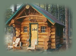 the log cabin in the retreat near crater lake in southern oregon.